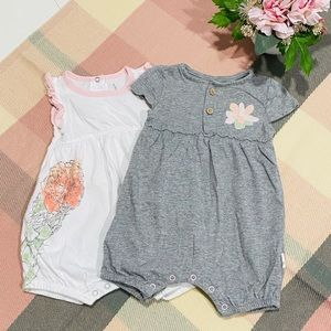 🐝 NWOT Burts Bees Organic Baby Bubble Rompers Set